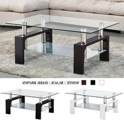 Modern Glass Chrome Coffee Table End Side Table w/ Shelves L