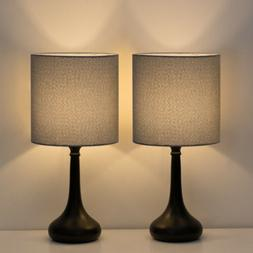 Modern Set of 2 Bedside Lamp Gray Linen Table Lamp Pair for