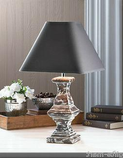 "modern shabby 19"" distressed gray ceramic bedside Table Lamp"
