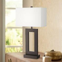 Modern Table Lamp Bronze Metal Open Window Base for Living R