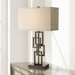 Modern Table Lamp Dark Bronze Stacked Rectangles for Living