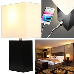 Modern Table Lamp Nightstand LED Light Wood USB Charging Des