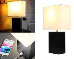 Modern Table Lamp Nightstand LED Light Wood Base USB Chargin