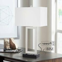 Modern Table Lamp with USB Outlet Steel Open Rectangle for L