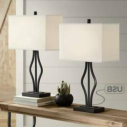 Modern Table Lamps Set of 2 with USB Port Black Rectangular