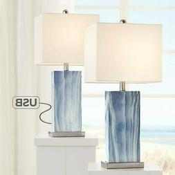Modern Table Lamps Set of 2 with USB Port Rectangular Blue L