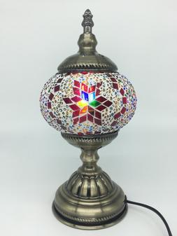 HANDMADE MOSAIC GLASS TABLE LAMP MOROCCAN OTTOMAN ART WITH F