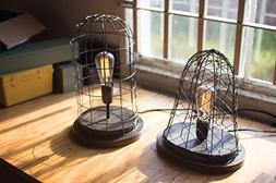 KALALOU NDE1107 WIRE CAGE DESK LAMP OLD BRASS