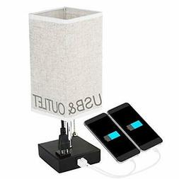 NEW Bedside Table Lamps USB Charging Ports Outlets Power Str