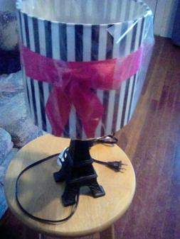 NEW EIFFEL TOWER PARIS LAMP PINK BOW SHADE BLACK TABLE LAMP