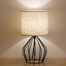 Nightstand Lamp Modern Style Black Hollowed Out Base with Li
