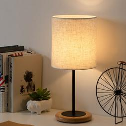 Nightstand Table Lamp Linen Fabric Lamp Shade and Wooden Bas