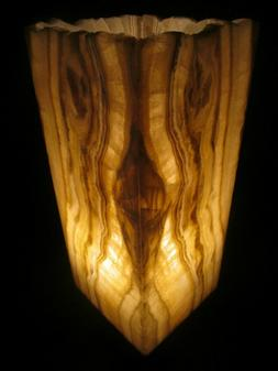 Onyx Stone Table Lamp Open Top Mineral Decorator Piece Chalc