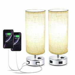 Pack of 2 Surpars House Fabric Table Lamp with Double USB Ch