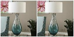 PAIR BLUE WATER GLASS TABLE LAMP BRUSHED NICKEL METAL ACCENT
