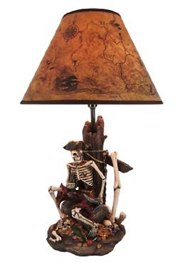 Pirate Skeleton W/Treasure Table Lamp W/Shade 21 inches tall