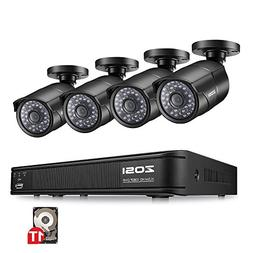 ZOSI 1080p PoE Home Security Camera System,8CH 2MP NVR with