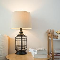 Portable Contemporary Style Table Lamp with Oatmeal Linen Ha