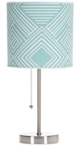 Sweet Potato Soho Mod Table Lamp with Aqua Print Shade, 18""