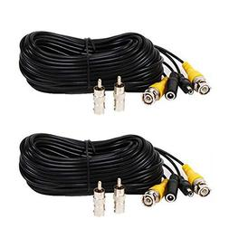 VideoSecu 2 Pack 50ft Feet Pre-made All-in-One BNC Video and