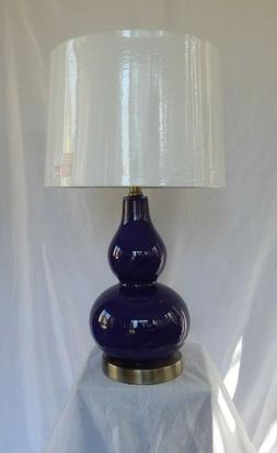 "Purple Double Gourd Glass  Table Lamp  22"" with white shade"