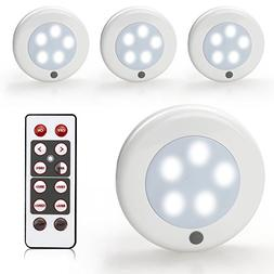 ZEEFO 4 Pack LED Puck Lights,Wireless Battery-Powered LED Ca