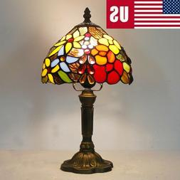 retro stained glass rose tiffany style table