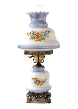 23 in. Rhombus Hurricane Table Lamp in Floral w 12 in. Shade