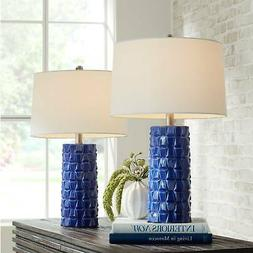 Modern Table Lamps Set of 2 Textured Blue Ceramic Column for