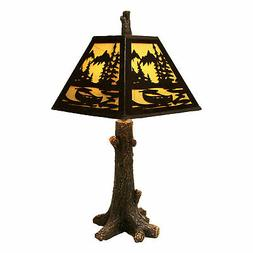 River's Edge Products Table Lamp - Rustic Tree Metal Shade