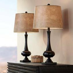 Ross Bronze Metal Table Lamps with USB Ports Set of 2