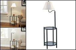 Round End Table with Floor Lamp Tan Shade Glass Top and Shel