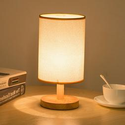 Round Fabric Shade Wood Table Desk Lamp Night Light Eye Care