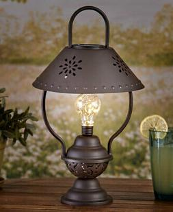 Rustic Country Table Lantern Lamp Flower Shaped Cut Out Batt