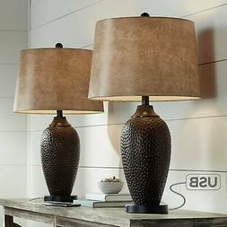 Rustic Industrial Table Lamp with USB Hammered Bronze Faux L