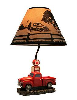 Rustic Red Antique Truck At Gas Pump Table Lamp with Printed