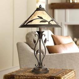 Rustic Table Lamp Metal Openwork Leaf Mica Shade for Living