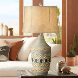 Rustic Table Lamp Southwest Style Faux Leather Shade Living