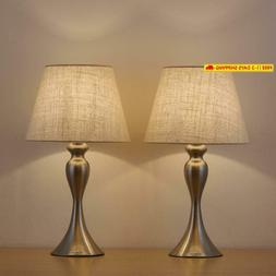 Haitral Sand Nickel Table Lamps - Modern Desk Lamps Set Of 2