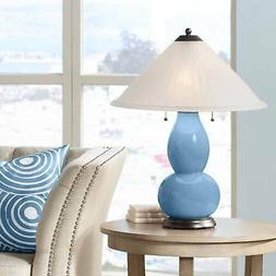 Secure Blue Fulton Table Lamp With Fluted Glass Shade