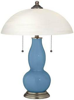 Secure Blue Gourd-Shaped Table Lamp with Alabaster Shade