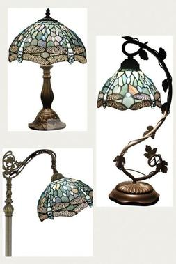 Set Deluxe Tiffany Style Floor Table Lamp Shade Dragonfly Vi