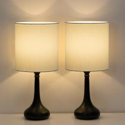 Set of 2 Bedside Table Lamp Pair White Night light Bedroom,L