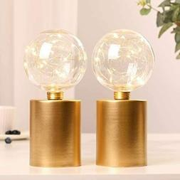 "Set of 2 Gold Table Lamp Battery Powered 8"" Tall Cordless Be"