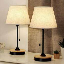 Set of 2 Table Lamp Desk Lamp for Bedroom Nightstand Beside