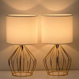 Set of 2 Table Lamps Gift Hollowed Out Gold Metal Base Linen