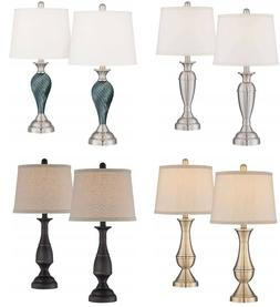 "Set of 2 Twist Column Table Lamps 25"" Tall Glass Metal Moder"