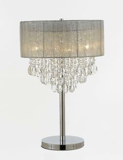 """Silver and Crystal 15""""W Table Lamp Desk Lamp Bedside Lamp"""