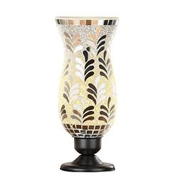 Collections Etc Silver Mosaic Hurricane Table Lamp