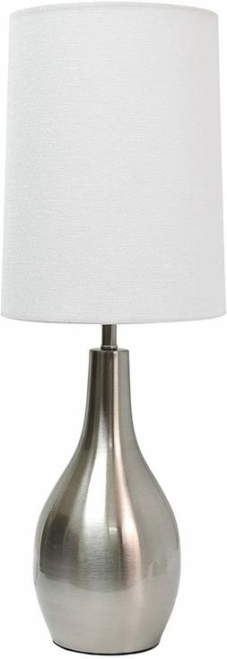 Simple Designs Home 1 Light Tear Drop Table Lamp, Brushed Ni
